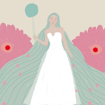 Original illustration girl wearing a wedding dress, Wedding Dress, Flower, Balloon illustration image