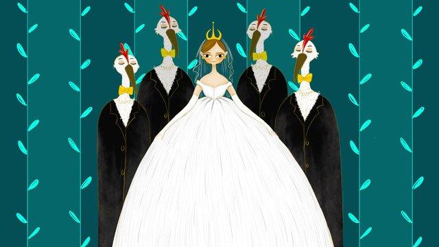 Bridal aesthetic healing system illustration, Wedding Dress, Wedding, Marry illustration image