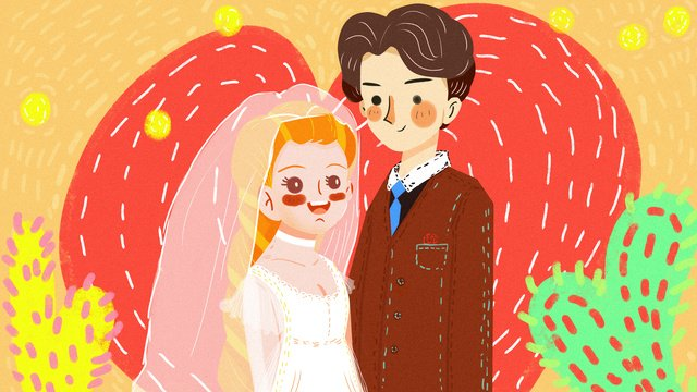 Retro texture graffiti wedding scene, Wedding Dress, Wedding, Retro illustration image