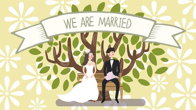 Wedding invitation sitting under the big tree of groom and bride original illustration, Wedding, Invitation Card, Big Tree illustration image