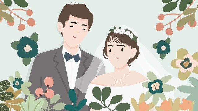Wedding invitation romantic couple flat wind hand drawn illustration, Wedding, Invitation Card, Romantic illustration image