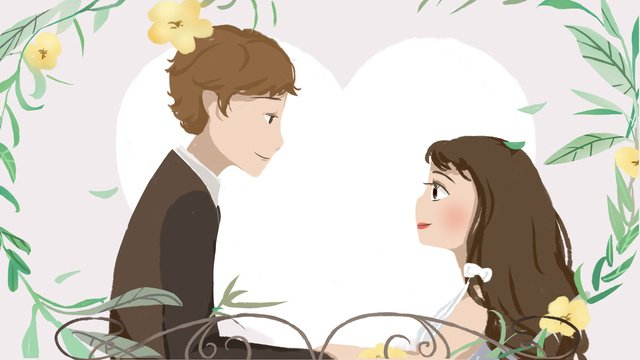wedding invitation small fresh couple married beautiful romantic card llustration image illustration image