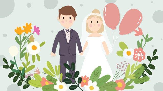 결혼식 초대장 로맨틱 풍선 신혼 여행 편평한 바람 삽화 소재