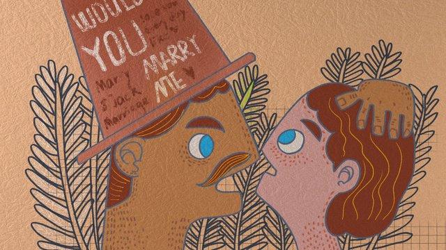 wedding invitation marry funny retro business illustration llustration image