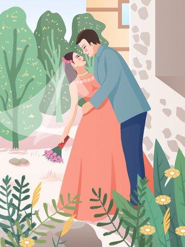 結婚式のシーンの美しい夢 イラスト素材 イラスト画像