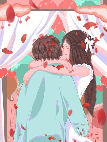 結婚式のシーンの美しい夢抱擁カップルのウェディングドレス甘い新鮮なイラスト イラスト素材 イラスト画像
