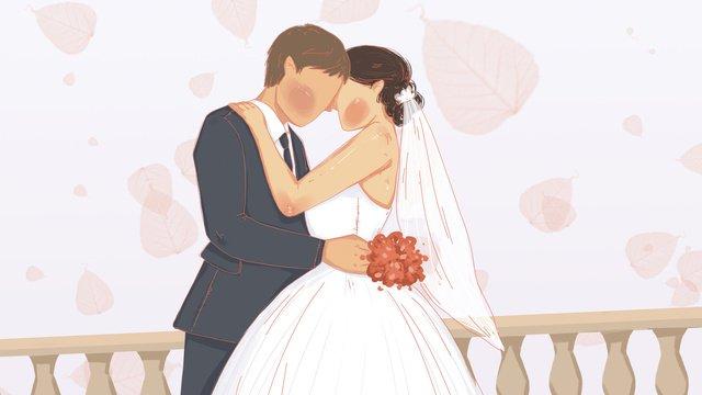 ロマンチックな結婚式の季節、恋人の甘い イラスト素材
