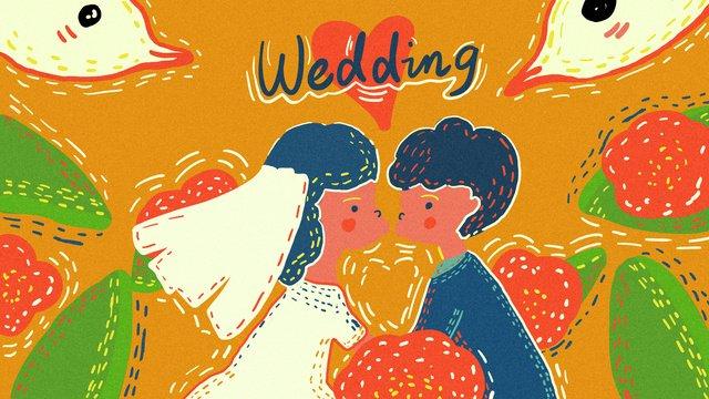 オリジナルの手描きの結婚式の季節、かわいい男性と女性のキスと結婚結婚式の季節  結婚式  かわいい男性と女性 PNGおよびPSD illustration image