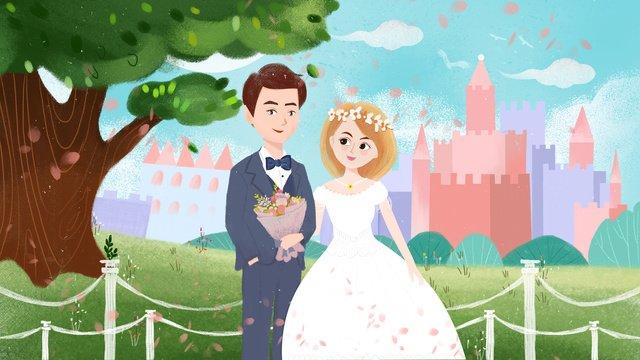 रोमांटिक शादी का मौसम दृश्य मूल चित्रण चित्रण छवि