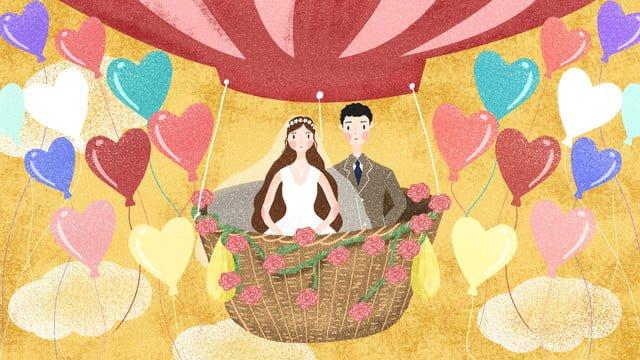 結婚式の季節の結婚式のシーンの熱気球の結婚式 イラスト素材