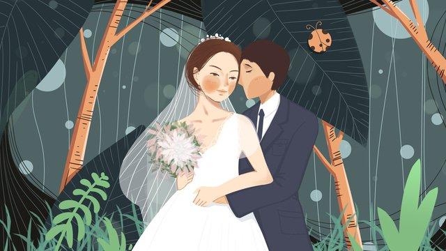 結婚式の季節に甘くてロマンチックな恋人たち イラスト素材