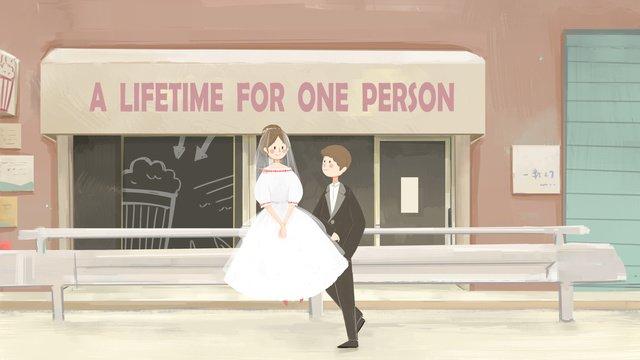 Original illustration wedding scene, Wedding, Wedding Scene, Couple illustration image