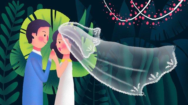 結婚式の季節の結婚式のシーンの図 イラスト素材