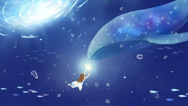 whale cure blue ocean, Original, Healing, Dream illustration image