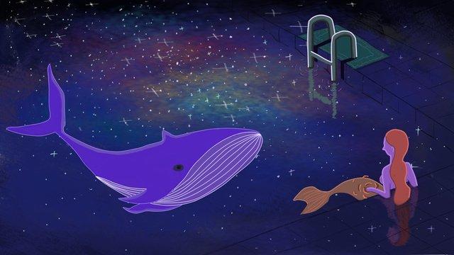 ファンタジー星空人魚クジラ イラスト素材 イラスト画像