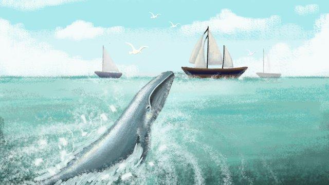 Deep sea whale - blue sky and white clouds, Whale, Sea, Blue Sky illustration image