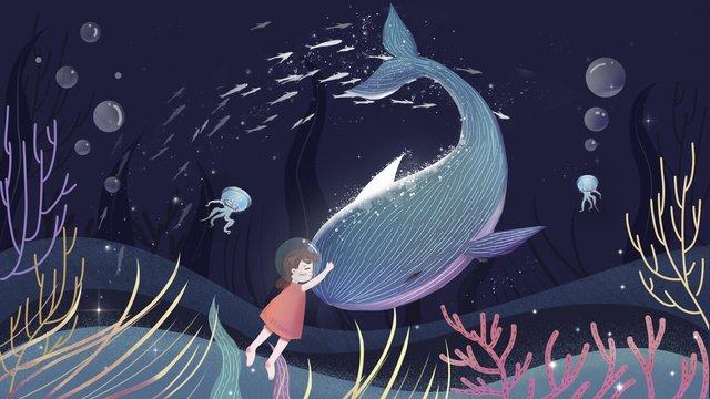 समुद्र और व्हेल के पानी नीचे की दुनिया हीलिंग चित्रण छवि