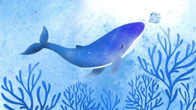 healing watercolor deep sea coral whale fish llustration image illustration image