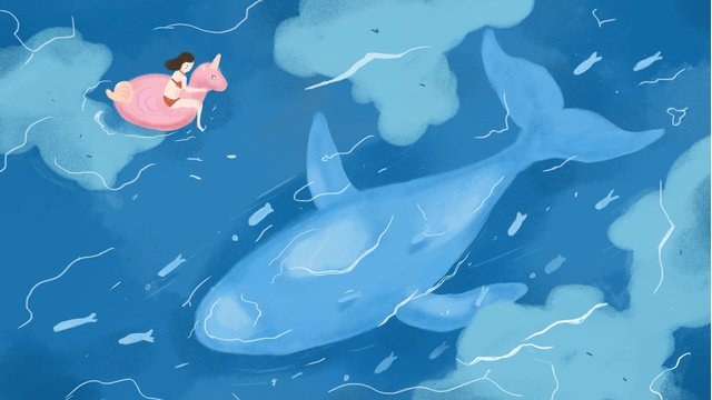 Simple and fresh cure deep sea whale illustration llustration image