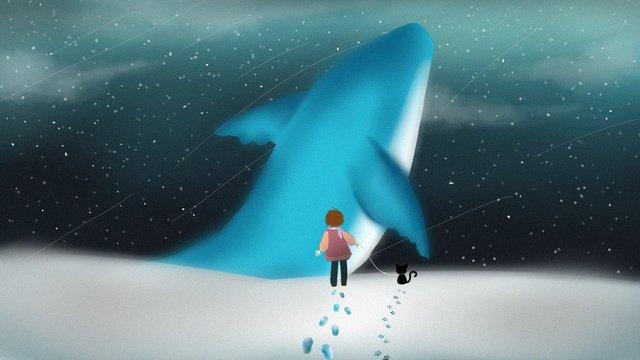 ドリームクジラとの雪の出会い イラスト素材 イラスト画像