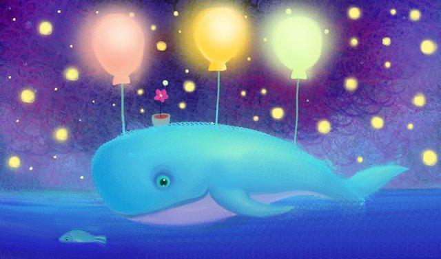 Illustration de bobine romantique étoilé baleineBaleine  Ciel  étoilé PNG Et PSD illustration image