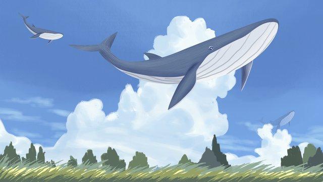 Beautiful whales swim around the sea, Whale, Dolphin, Sky illustration image