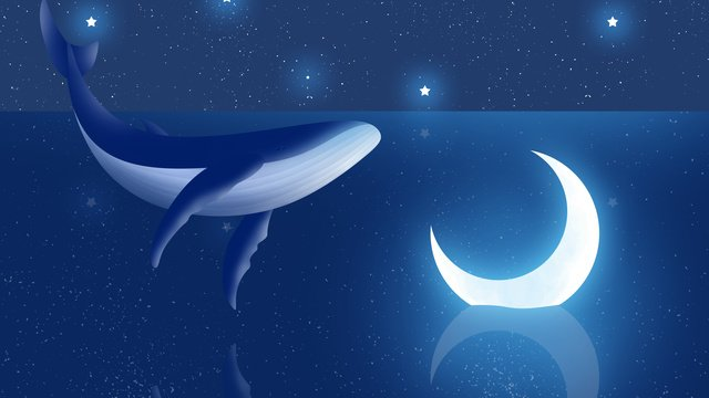 Dreamy whale with moon illustration, Whale, Dream, Night Sky illustration image