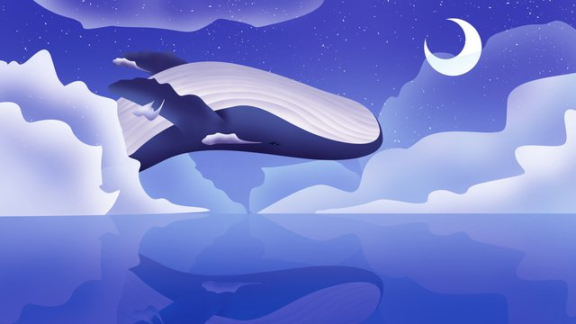 Whale turning over dreamy illustration, Whale, Romantic, Dream illustration image