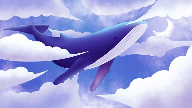 whale White clouds whale dream, Illustration, Deep Sea Whale, Whale illustration image