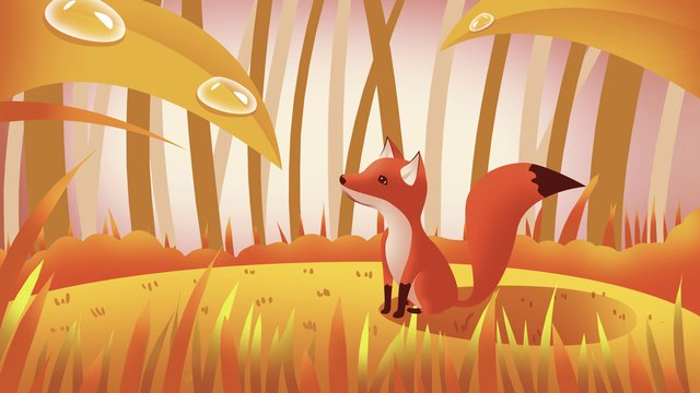 白い鹿、漫画、キツネ イラスト素材