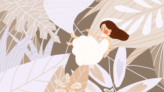 バイルガールかわいいフラットシンプルなオリジナルイラスト白い露  ソーラー用語  10代の少女 PNGおよびPSD illustration image
