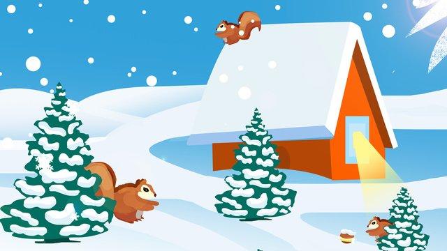 Beautiful winter hello illustration, White Snow Flat, Creative Illustration, Winter illustration image