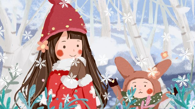 warm illustration of winter hello girl and small animal llustration image