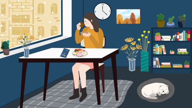 Winter hello at home outside the window snow scene casual afternoon tea llustration image