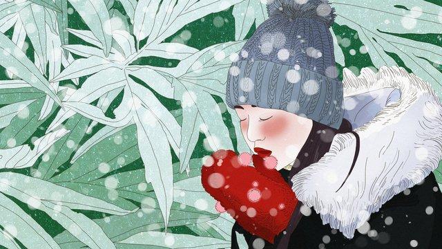 original winter hello snow red gloves girl hand drawn illustration llustration image