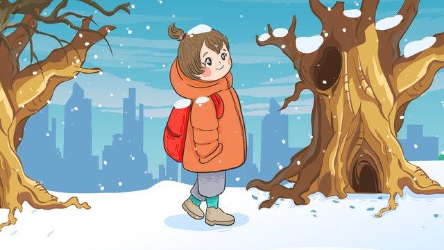 winter hello little girl walking in the snow original hand drawn illustration llustration image