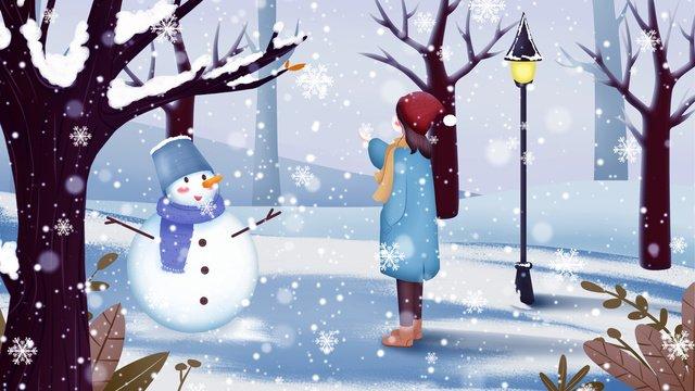 겨울에 눈 일러스트 레이터 snow girl park 삽화 소재