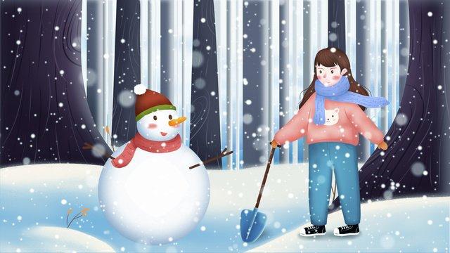 겨울 눈 눈사람 삽 삽질 작은 소녀 삽화 소재
