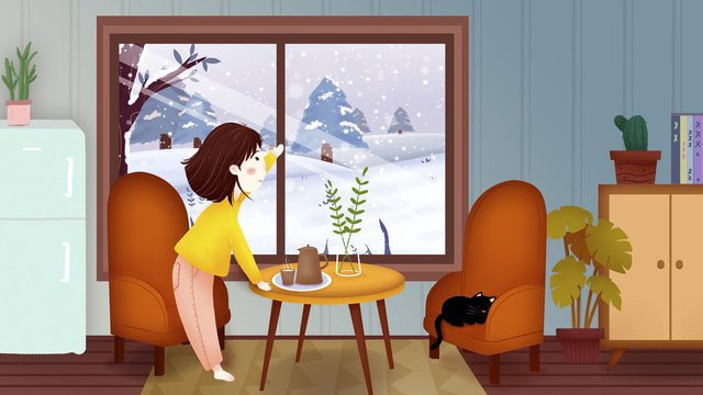 Winter snowy day indoor girl snow illustrator llustration image illustration image