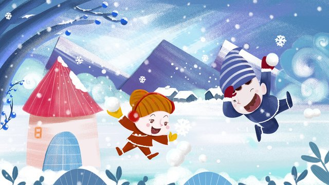 winter buddy playing snowball texture illustration llustration image illustration image