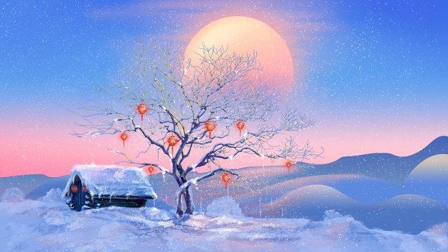 겨울 눈은 아름답고 신선합니다 삽화 소재