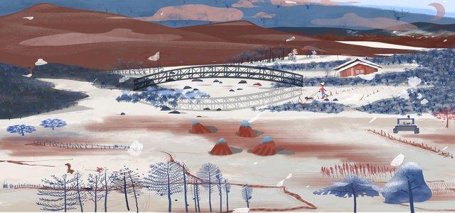 겨울 눈 풍경 아름다운 신선한 ruixue zhaofeng 년 필드 일러스트 레이 터 레이션 삽화 소재