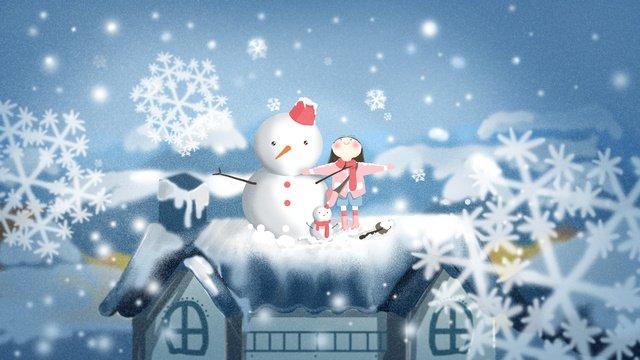 winter snow landscape beautiful fresh girl snowman roof snowflake flying illustration llustration image