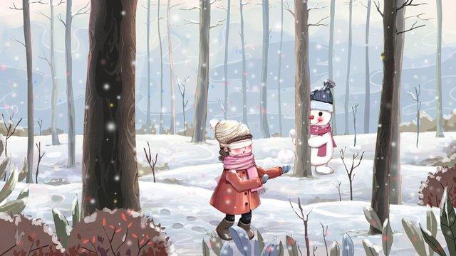 original snow scene illustration winter hide and seek snowballing playful llustration image