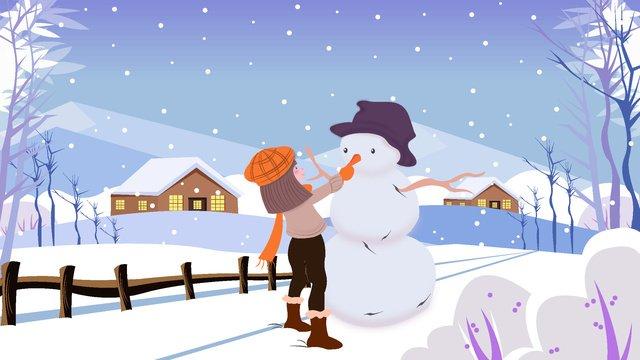 안녕하세요 겨울 내 여자 삽화 소재