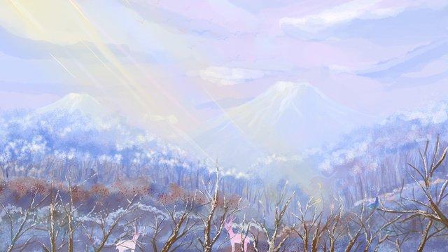 冬のイラストに冬こんにちは治療 イラストレーション画像