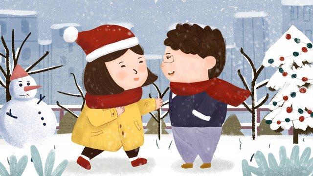 Winter snow scene male and female couple warm hug illustration hand-painted original, Winter, Snowing Scene, Male And Female Couple illustration image