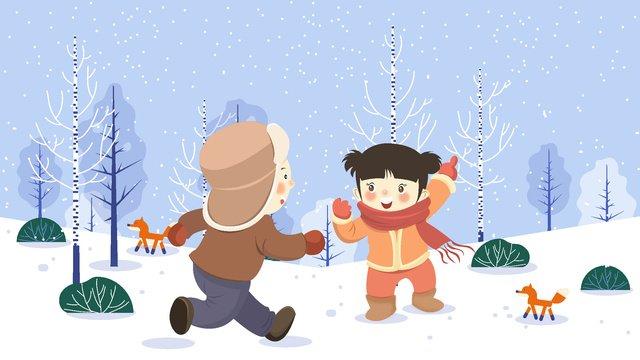 こんにちは、冬は遊び心のある子供たち イラストレーション画像