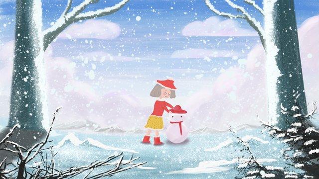 겨울 눈 덮인 겨울에 눈사람을 만드는 작은 소녀의 그림 삽화 소재
