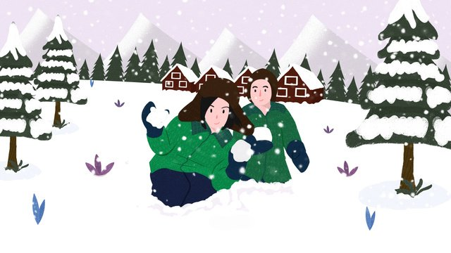 winter couple playing snowball illustration llustration image illustration image